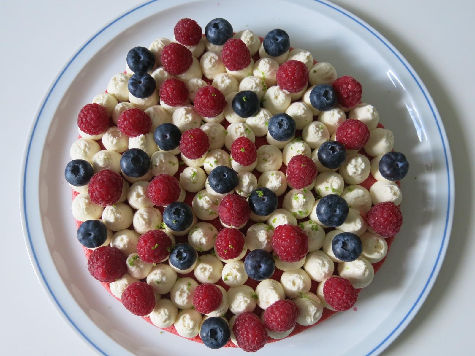 Macaron géant, crème vanillée et fruits rouges