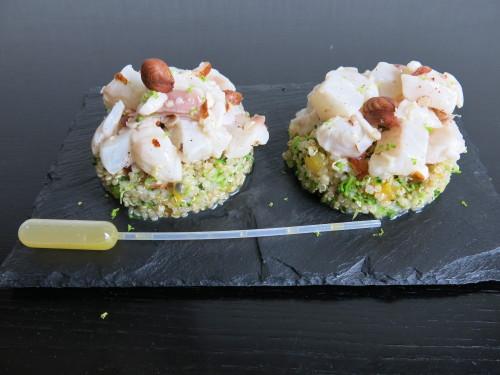 Tartare de bar et quinoa agrumes/brocolis