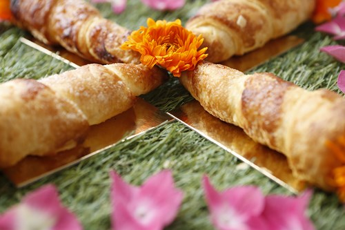 Cornets feuilletés à la crème de citron et suprêmes de pamplemousse