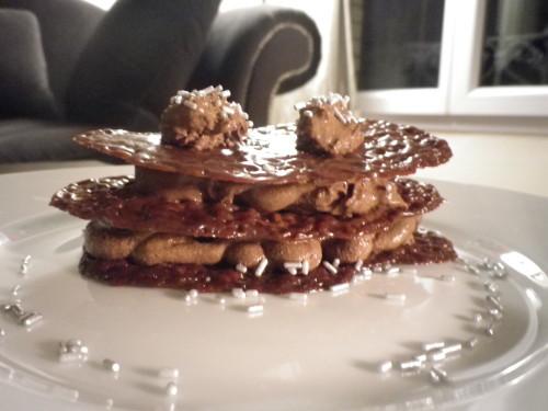 Millefeuille de carambar à la mousse au chocolat