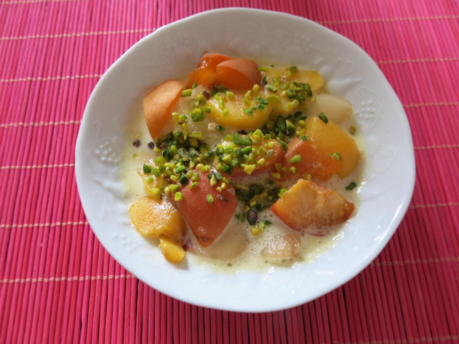 Pêches – Abricots et sabayon au Cointreau !