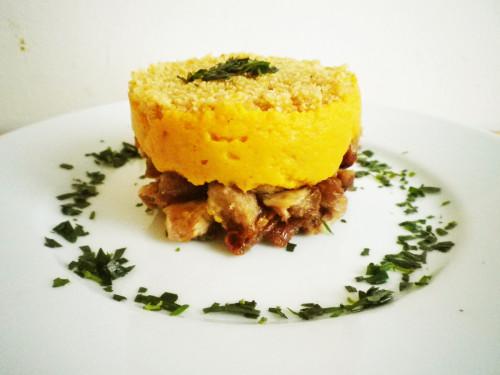 Parmentier de canard / Purée de patates douces aux échalotes croquantes