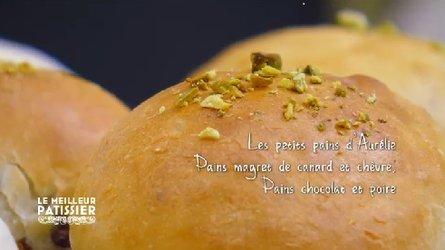 Petits pains bien cuits : pistache, poire séchée et chocolat